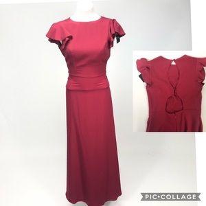 ASOS NEW open back cap sleeve dress vintage red